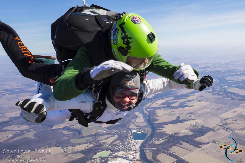 skydiving in winter