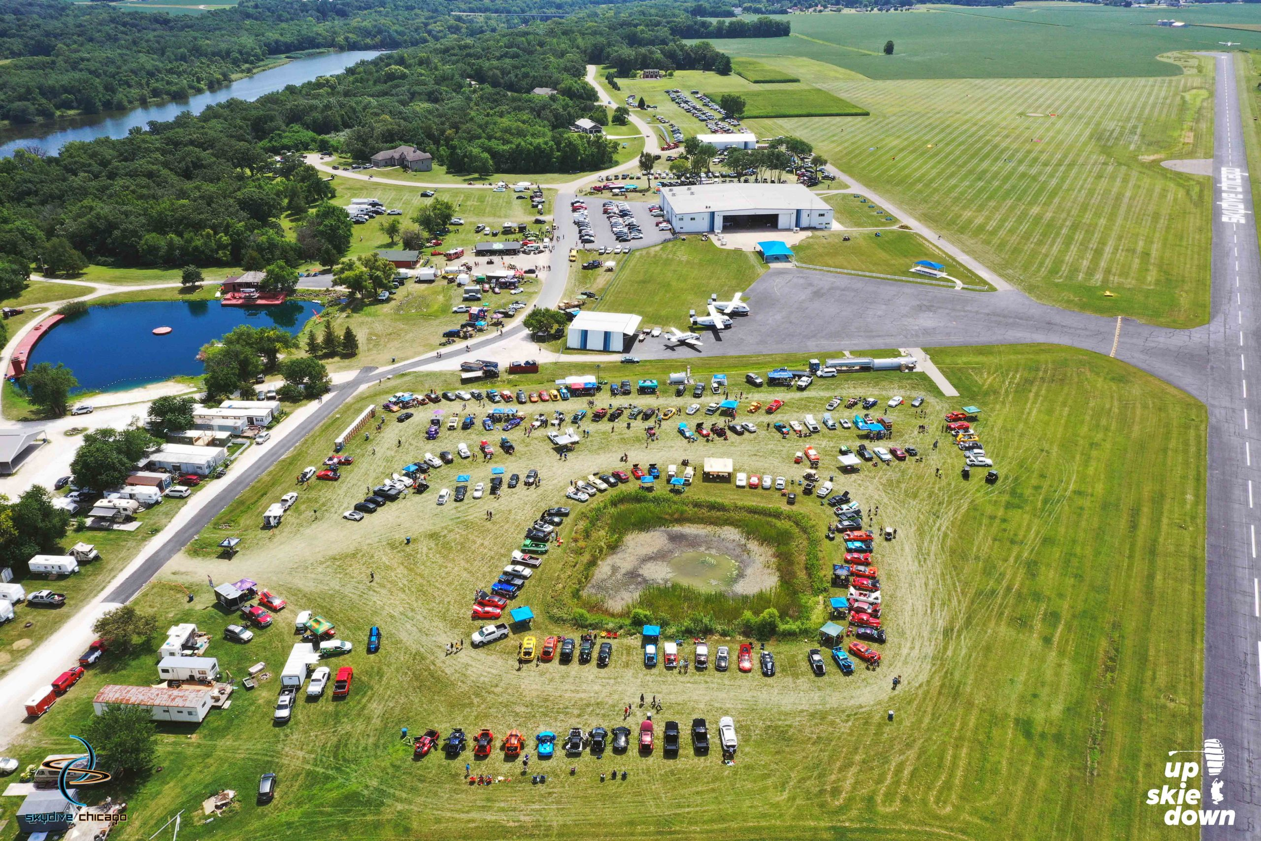Ariel image of car show at Skydive Chicago